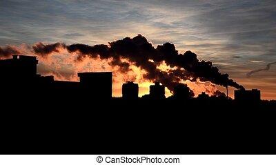 Clubs contaminated smoke (air) abov