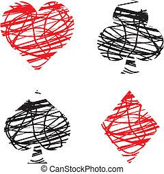 clubs, diamonds, hearts,and spades