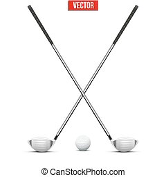 clubs, golf, ball., vector.