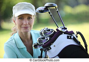 clubs, golfeur, dame