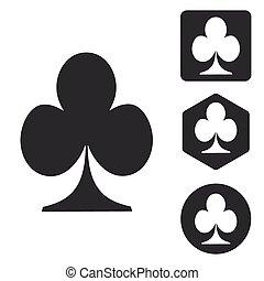 Clubs icon set, monochrome