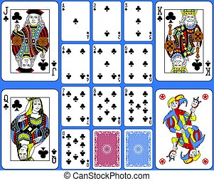 Clubs Suite Playing Cards French Style.eps - Playing cards...