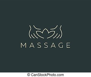cluburlaub, hände, massage, schönheit salon, logo, kreativ, vektor, spa, logotype., lotos, design.