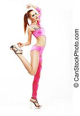 clubwear., bezaubernd, frau, lebenskraft, dance., elegant, revuegirl