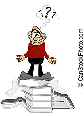 Cartoon of a clueless man standing on a stack of books