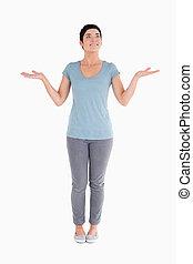 Clueless woman posing