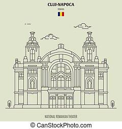 cluj, romania., 劇場, napoca, オペラ, ルーマニア語, 国民, 家, ランドマーク, アイコン