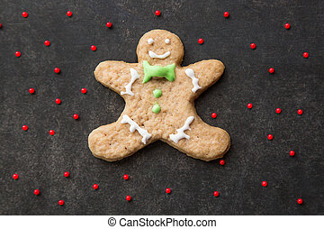 Clumsy christmas homemade ginger cookie man.