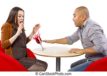 Clumsy Date - clumsy man spilling a drink on his date