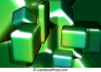 cluster, green, cubism