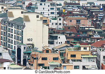 Cluster of apartment in Gangnam district in Seoul Korea