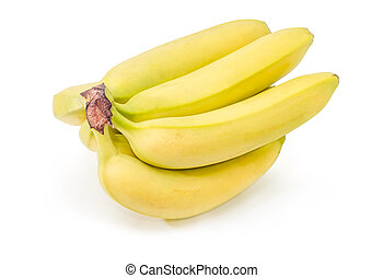 Cluster of bananas on a white background