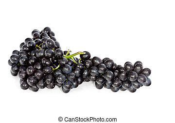 cluster of black grape isolated on white background - fresh...