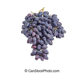 Cluster of blue grapes on a white background