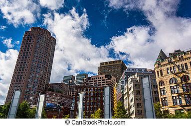 Cluster of buildings in Boston, Massachusetts.
