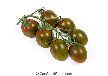 Cluster of cherry tomatoes kumato on a white background