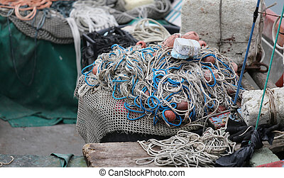 fishing nets used by the fisherman at sea