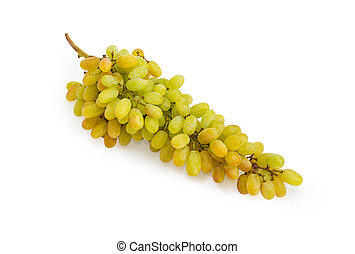 Cluster of the white sultana grapes on a white background