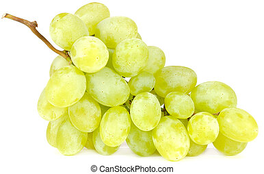 Cluster of White Grapes Isolated on White Background