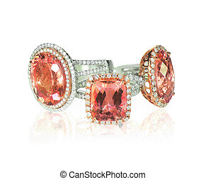 Cluster stack of diamond wedding engagment rings