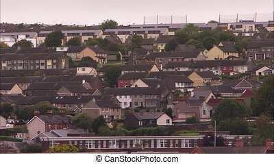 Clustered houses in Ireland - A wide scenic shot of houses...