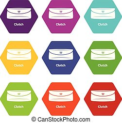 Clutch bag icons set 9 vector