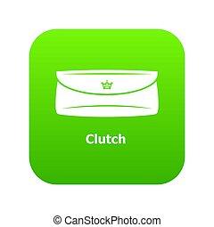 clutch, bag, ikon, grønne