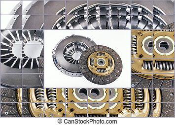 clutch, skive, udstyr, automobilen, på, en, hvid baggrund
