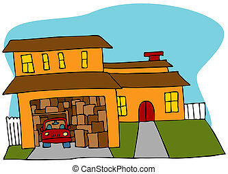 Cluttered Garage - An image of a garage crowded with boxes...