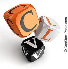 clv, 縮寫, 為, 顧客, 一生, 價值, 橙, 黑色, 骰子, 塊