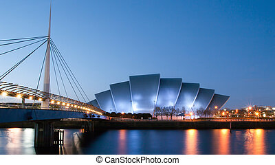 Clydeside panorama at dusk - Bridge and public armadillo ...