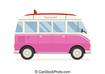 Vintage Pink Coach Bus Travel Vector Icon Isolated On White Summer Family Tourist Cartoon Pictogram In Flat Design RV For