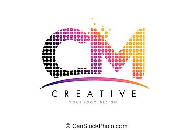 CM C M Letter Logo Design with Magenta Dots and Swoosh - CM...