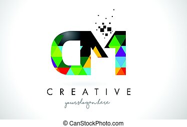 CM C M Letter Logo with Colorful Triangles Texture Design...