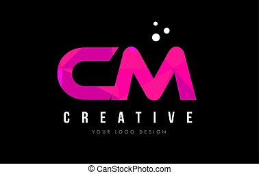CM C M Letter Logo with Purple Low Poly Pink Triangles...