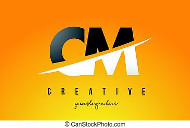 CM C M Letter Modern Logo Design with Yellow Background and...