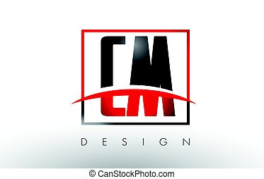 CM C M Logo Letters with Red and Black Colors and Swoosh....