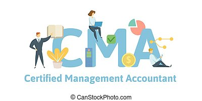 CMA, Certified Management Accountant. Concept with keywords, letters and icons. Flat vector illustration. Isolated on white background.