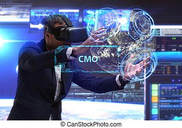 cmo, voit, réseau, fonctionnement, inscription:, concept., jeune, virtuel, business, internet, homme affaires, technologie, réalité, lunettes