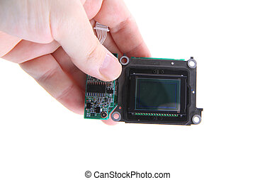 cmos chip from camera isolated on the white background