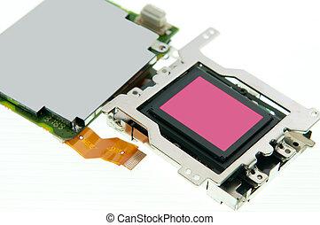 cmos, sensor, e, curcuit, tábua, isolado, branco