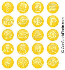 cms, amarela, ícones