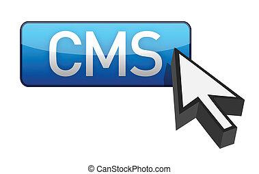 CMS blue cursor and button