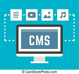 CMS concept on blue background, vector illustration