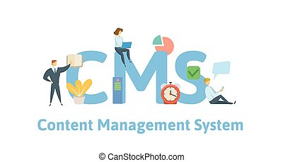 CMS, content management system. Concept with keywords, letters and icons. Flat vector illustration. Isolated on white background.