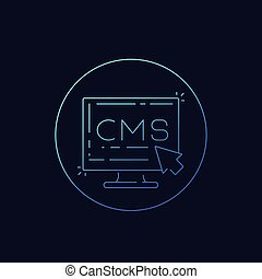 CMS, Content management system icon, linear