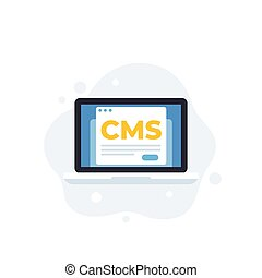 CMS, Content management system, vector icon