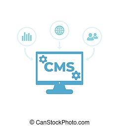 CMS, Content management system vector icons