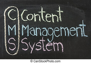 CMS, Content management system, written on the chalkboard