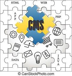 cms., geschäftsführung, vector., system., zufriedene